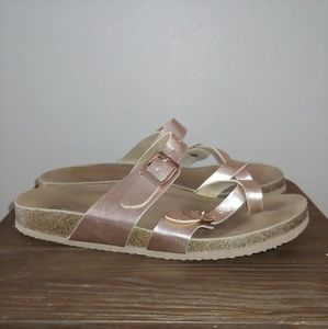 R2 Report Rose Gold Sandal slide Berlin Strappy